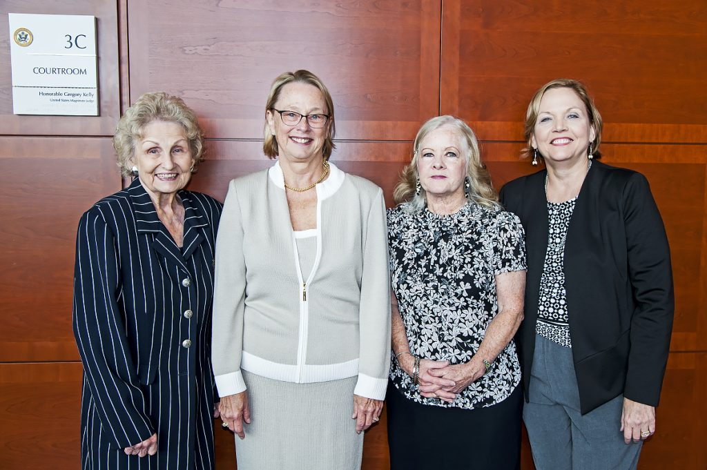 L-R:  Deputy Clerk Carol Arias, Senior Judge Anne C. Conway, Retired Deputy Clerk Sally Ford & Former Official Reporter Rita Meyer