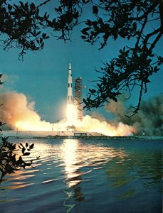Apollo Rocket Launch from a launch pad at Kennedy Space Center in the 1960s